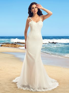 Spaghetti Straps Appliques Backless Mermaid Wedding Dress