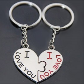 Romantic to pout heart couple keychains