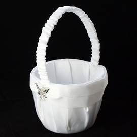 Flower Basket in Satin with Butterfly Rhinestones & Sash