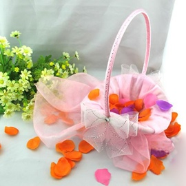 Pretty Pink Bow Flower Basket With Rhinestone