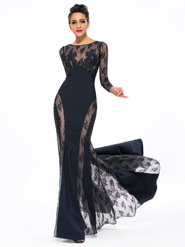 Sexy Bateau Neckline Trumpet Lace Appliques Sweep Train Long Evening Dress