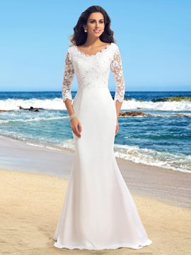 V-Neck Lace Beading Mermaid Wedding Dress with Sleeves