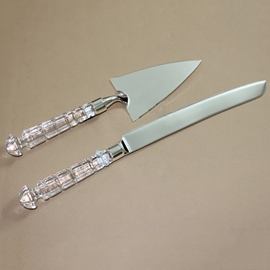 Fine Silverware Crystal Handle Cake Server Sets