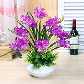Pretty Simulation Flowers Set Series Desktop Decoration Potted Purple Orchis