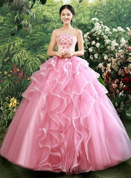Glorious Strapless Appliques Ball Gown Quinceanera Dress