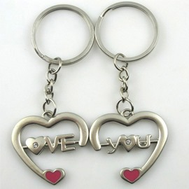 Romantic Love You heart-shaped couple keychains