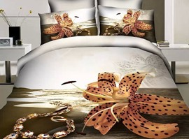 100% Cotton Sunshine Coast 4 Piece 3D Bedding Sets