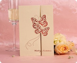 Pretty Double Butterfly Wedding Invitation (20 Pieces One Set)