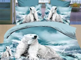 100% Cotton Polar Bear 4 Piece 3D Bedding Sets