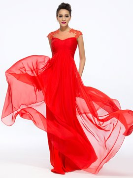 Timeless A-Line Bateau Neck Appliques Floor-Length Evening Dress