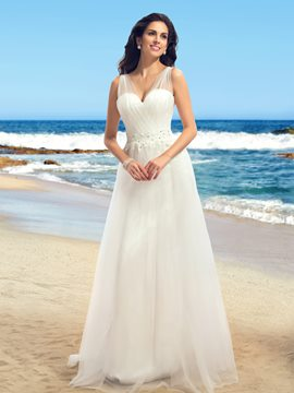 Romantic V-Neck A-Line Floor-length Wedding Dress