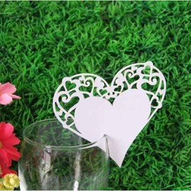 Heart Shape Wine Glass Card (Set of 12 )