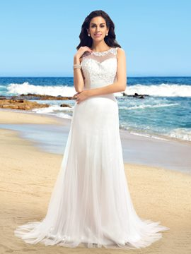 Sexy A-Line Scoop Tulle Applique Wedding Dress