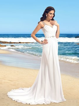 Classy A-line V-Neck Beadings Backless Wedding Dress