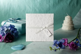 White Embossed Spring Flowers Wedding Invitation (20 Pieces One Set)