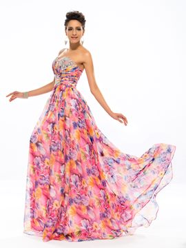 Charming Strapless Sweetheart Beading A-Line Long Evening Dress