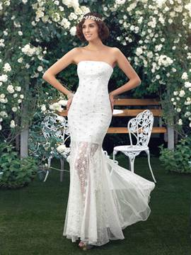 Simple Strapless Beading Appliques Column Floor Length Wedding dress