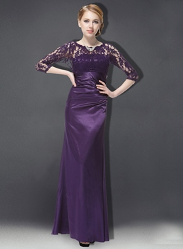 Modest A-Line Lace Half Sleeves Mother of the Bride Dress