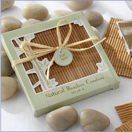 Wedding Favor Bamboo Cup Mat Four Pieces
