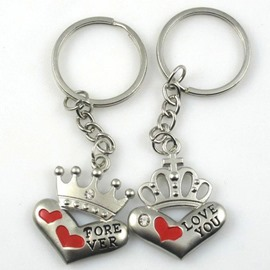 Creative crown loving couple key chain