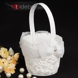 White Flower Basket in Satin With Embroidery