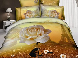 100% Cotton Soft Flower Print 4 Piece 3D Bedding Sets
