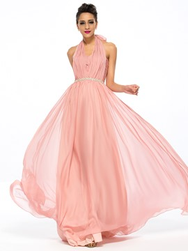 Halter A-Line Ruffles Crystal Floor-length Evening Dress