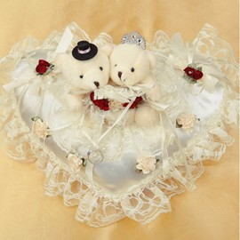 Cute Heart-Shaped Bear Lace Ring Pillow