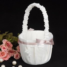 Pure White Flower Basket in Satin With Ribbons
