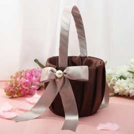 Brown Flower Basket in Satin With Bow