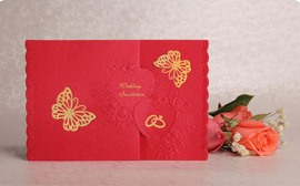 Stereo Bronzing Butterfly Wedding Invitation (20 Pieces One Set)