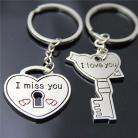 Personalized Heart Key couple keychains