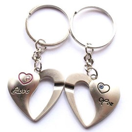 Creative half empty love romantic couples key chains