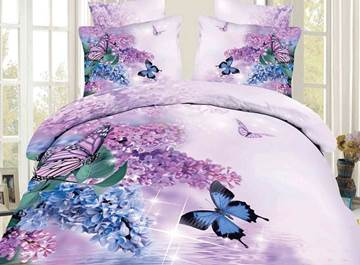 Amazing Flowers&Butterflies Printing 3D Bedding Sets