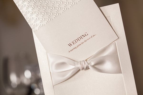 Classy Flat Card Invitation Cards With Ribbons (20 Pieces One Set)