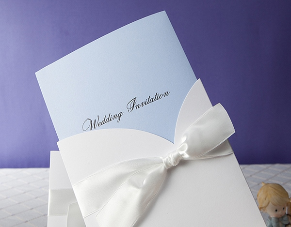 Formal Wrap & Pocket Invitation Cards With Bows (20 Pieces One Set)