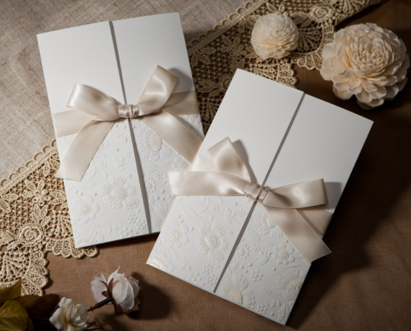 Classic Design Wrap & Pocket Invitation Cards With Bows (20 Pieces One Set)