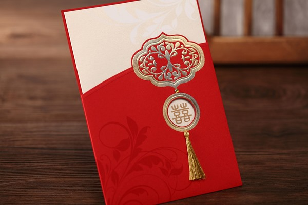 Asian Wrap & Pocket Invitation Cards With Tassels (20 Pieces One Set)