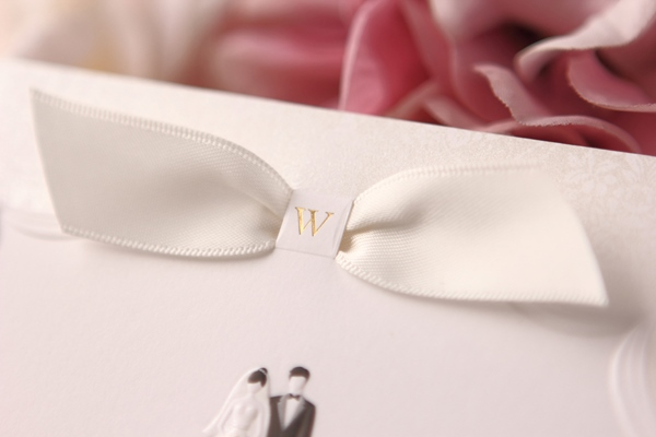 Bride & Groom Design Top Fold Invitation Cards With Ribbons (20 Pieces One Set)
