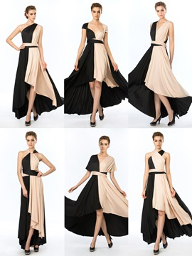 Concise Straps Ruffle A-Line Asymmetrical Evening Dress