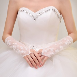 Applications de perle Ivoire mariage Fingerless gants