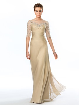 Delicate Sheer Half Sleeves Appliques Long Evening Dress