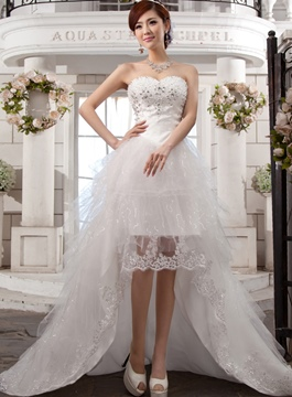 Unique Sweetheart Beading High Low Wedding Dress