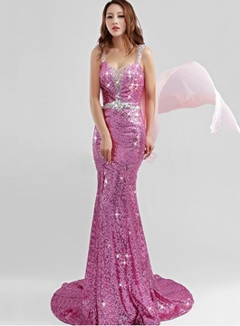 Sparkling Straps Sequins Mermaid Evening Dress