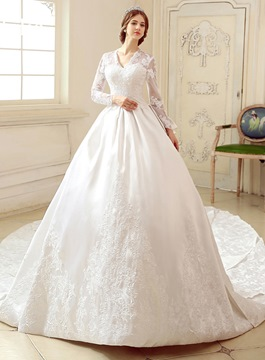 Classy V-Neck Long Sleeve Wedding Dress