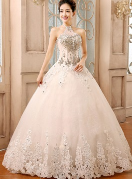 Halter Rhinestone Ball Gown Wedding Dress