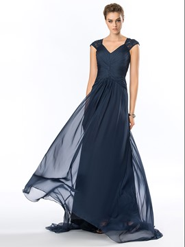 Charming V-Neck Cap Sleeve Ruched Chiffon Long Evening Gown