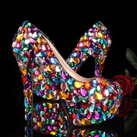 HIgh-class Candy Crystal Stiletto Heels Prom Shoes
