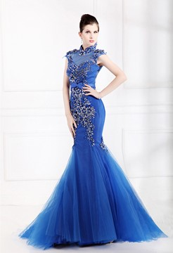 Sumptuous Appliques High Collar Mermaid Evening Dress