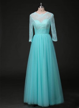 Classy A-Line Jewel Lace Chiffon Bridesmaid Dress
